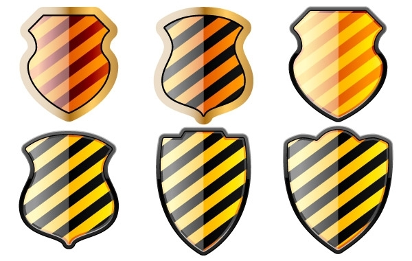 Free Free set of of shields in black and yellow stripes
