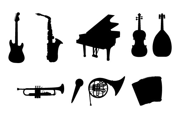 Free Musical Instruments Silhouettes