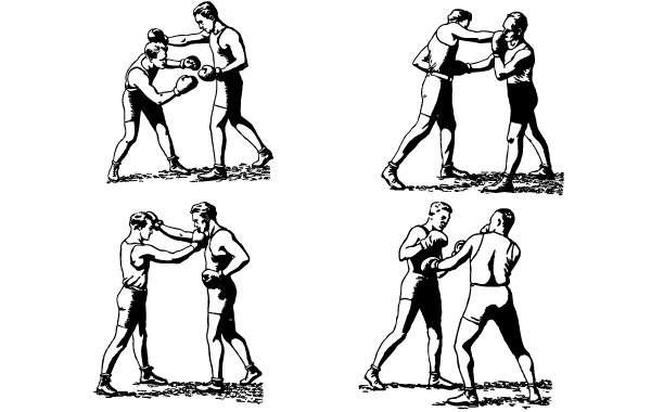 Free Olde-Time Boxers in Classic Boxing Stances, Punching