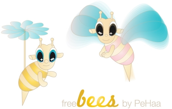 Free Free Bees Vector Characters