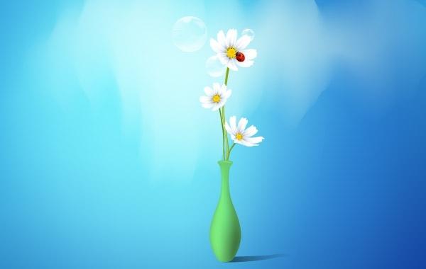 Free Spring Flowers Vase
