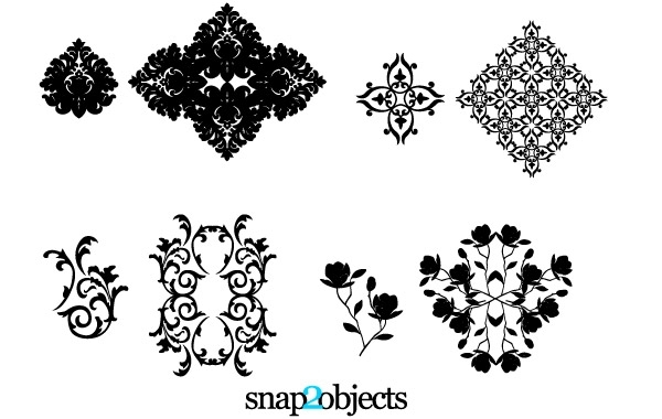 Free Four Vector Floral Ornaments
