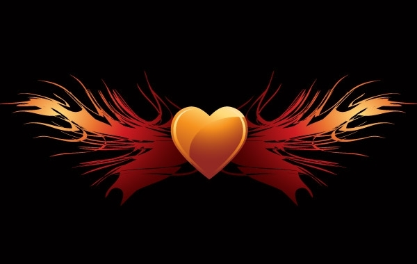 Free EPS vector flaming heart wings