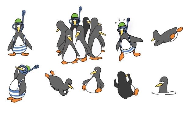 Free  Funny Penguin Vector Set