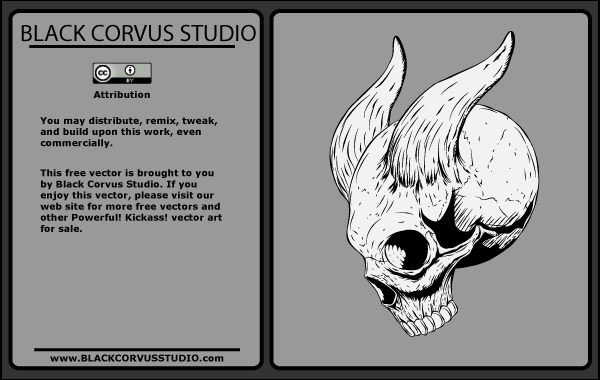 Free Vectors: Skull with Horns | blackcorvusstudio