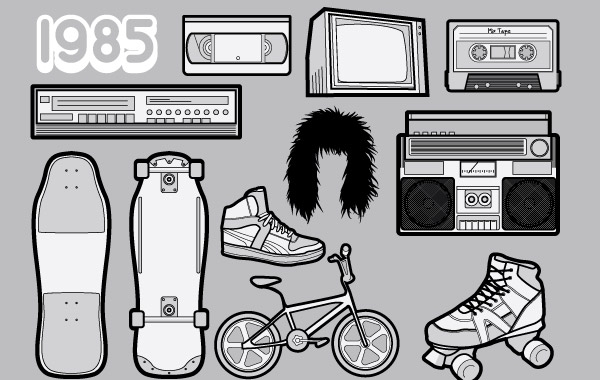 Free 1985 A Free Vector Pack of 80s Icons