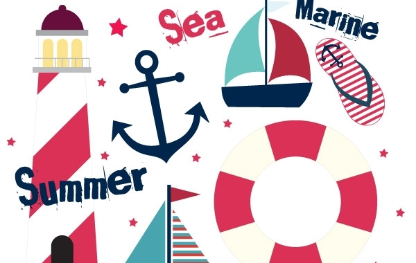 Free Vectors: Summer Sail Design Set | zbuh