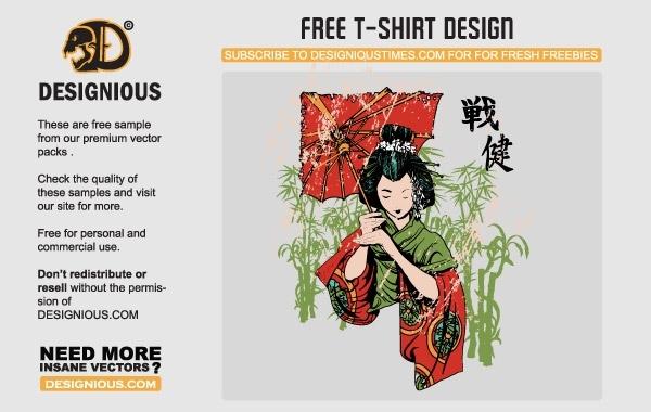 Free Japanese Geisha Vector T-Shirt Template
