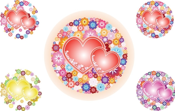 Free Flowery Hearts Vector