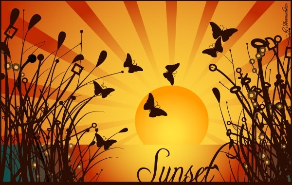 Free NATURE SUNSET VECTOR GRAPHIQUE