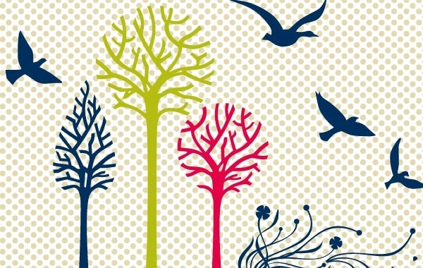 Free New free vector set: birds & trees