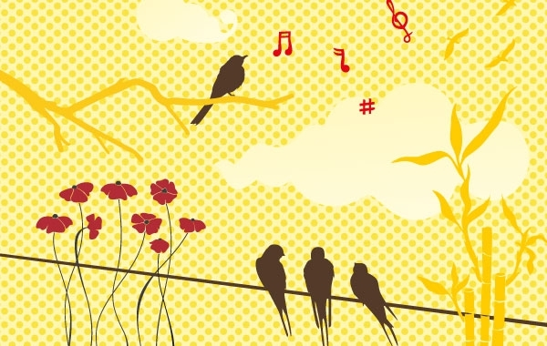 Free New free vector set: birds & flowers