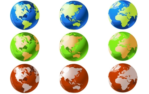 Free VECTOR WORLD GLOBES