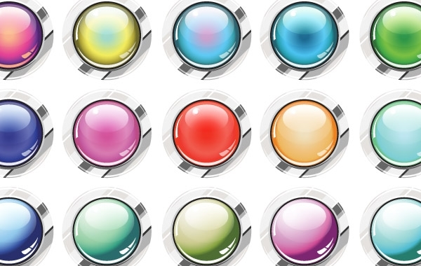 Free Glassy Buttons Vector
