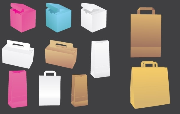 Free Vector paper bags & boxes