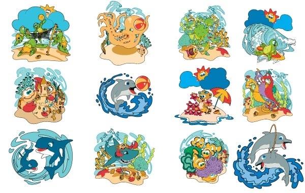 Free Free Kids Beach Animals Art Pack