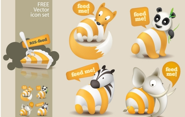 Free Feed Me Animals: A Free RSS Feed Icon Set