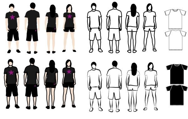Free Vectors: T-Shirt Models 2 | APEstar