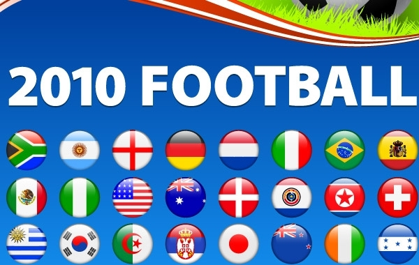 Free world cup 2010 football vector flags