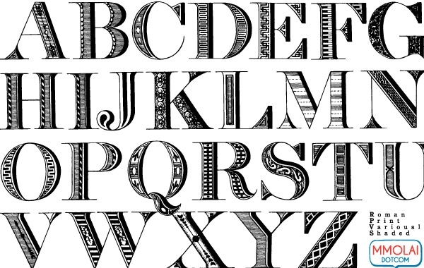 Free Vector Font: Roman Print
