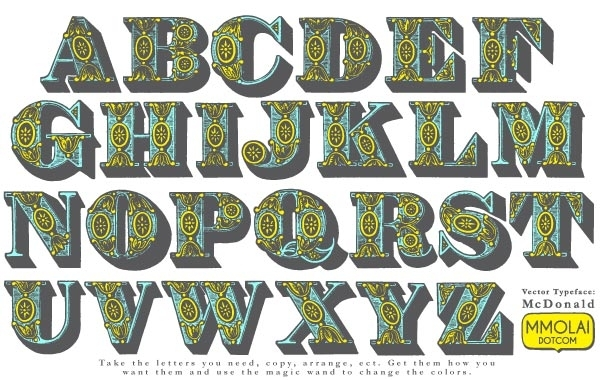 Free 13 Abstract Vector Typeface:Macdonald