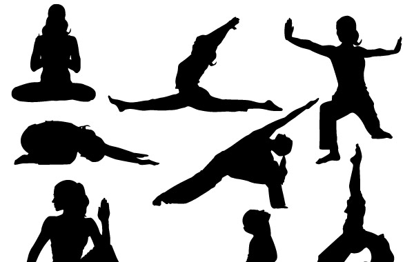Free Yoga Silhoutte vector Poses