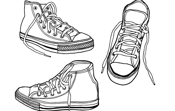 Free Rough, Hand Drawn Illustrated Sneakers