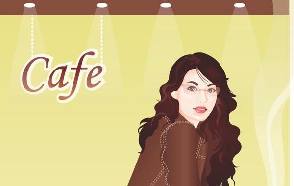 Free Vectors: Girl In Cafebar | DaPino