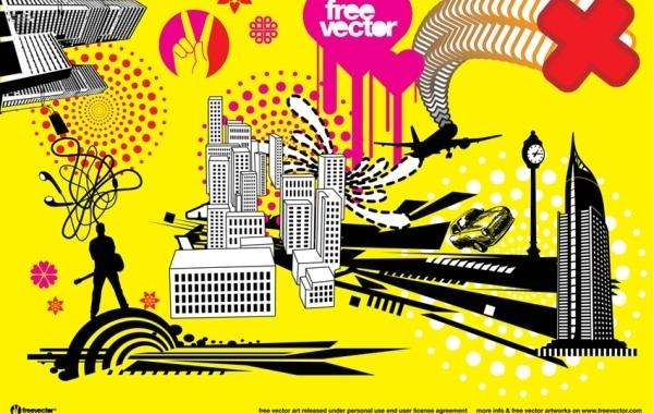 Free Vectors: City Urban Funky style | H. Daniel