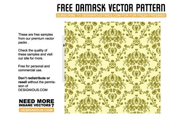 Free Vectors: Damask seamless pattern | Doink