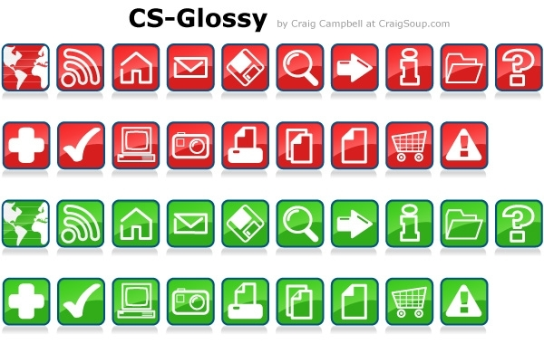 Free Glossy Vector Icons
