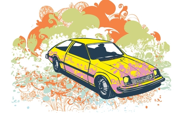 Free Grunge retro car vector illustration