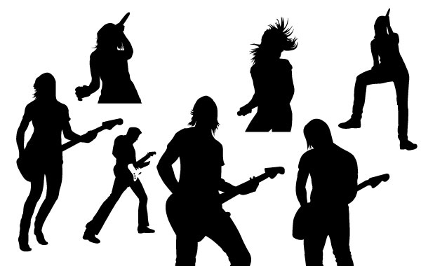 Free Vectors: Live Music Vector Silhouettes |  SpoonGraphics