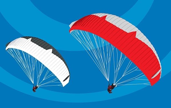 Free Tandem Paragliders in flight