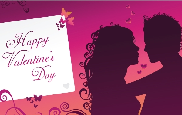 Free Purple Happy Valentine's day greeting card