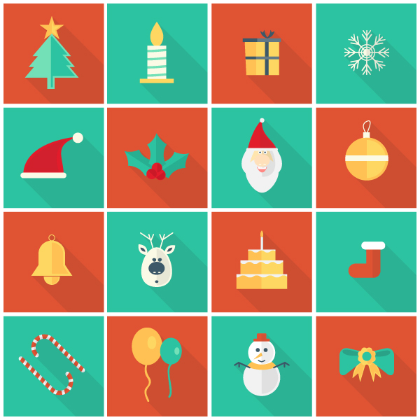 Free Flat Vector Christmas Ornaments and Icons
