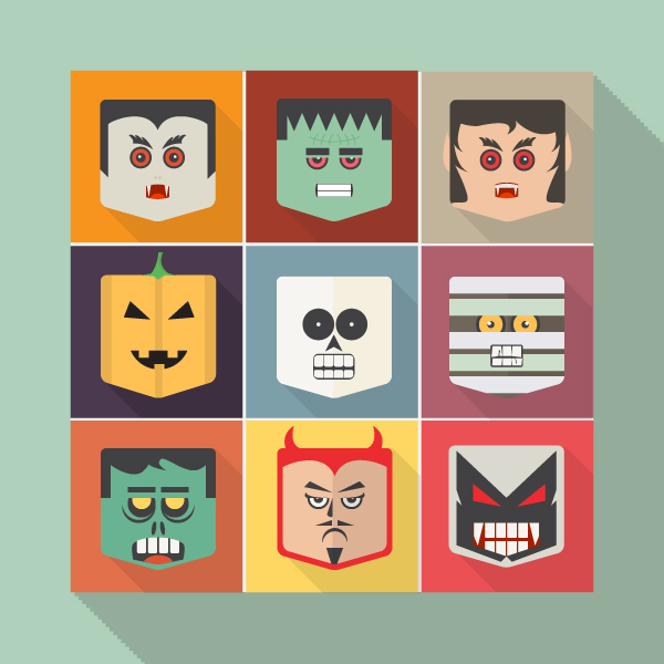 Free Flat Halloween Vector Faces