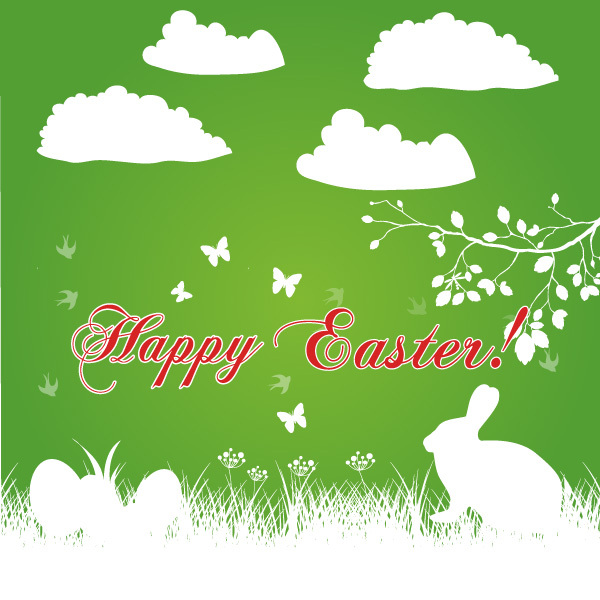 Free Happy Easter Bunny Background Vector