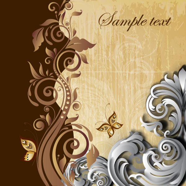 Free Classic Floral Swirl Background Vector