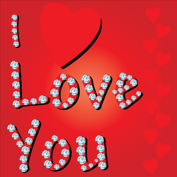 Free Diamond Studded Love Vector