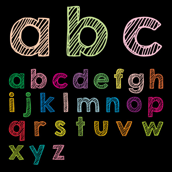 Free Lower Case ABC Vector