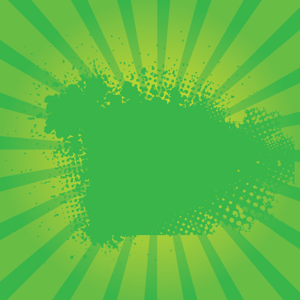 Free Green Grunge Sunburst Vector