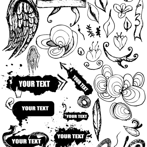 free vectors free vector grungy hand drawn design elements apehost