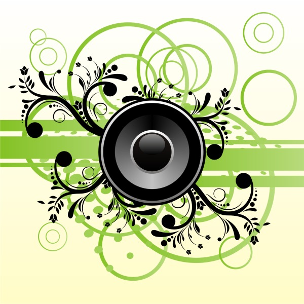 Free Free Vector Music Speaker On Green Abstract Background
