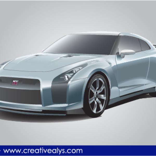 Free Nissan GTR Realistic Vector Car