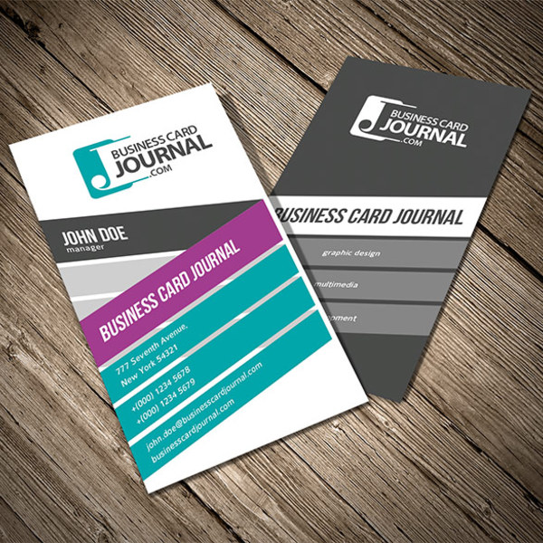 Free Colorful Vertical Business Card Template