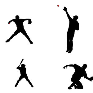 Free Baseball Players Silhouettes