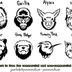 Free 8 Animal Head Vectors