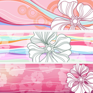 Free 8 Vector Flower Banners (H)