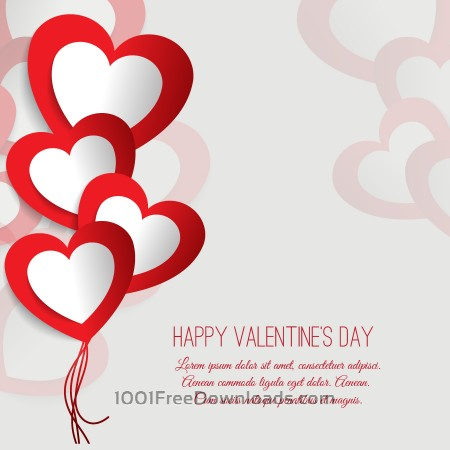 Free Valentine's day vector illustration with paper hearts